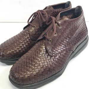 NICOLE LEATHER WOVEN WOMEN'S BOOTIES (8.5 M) BROWN